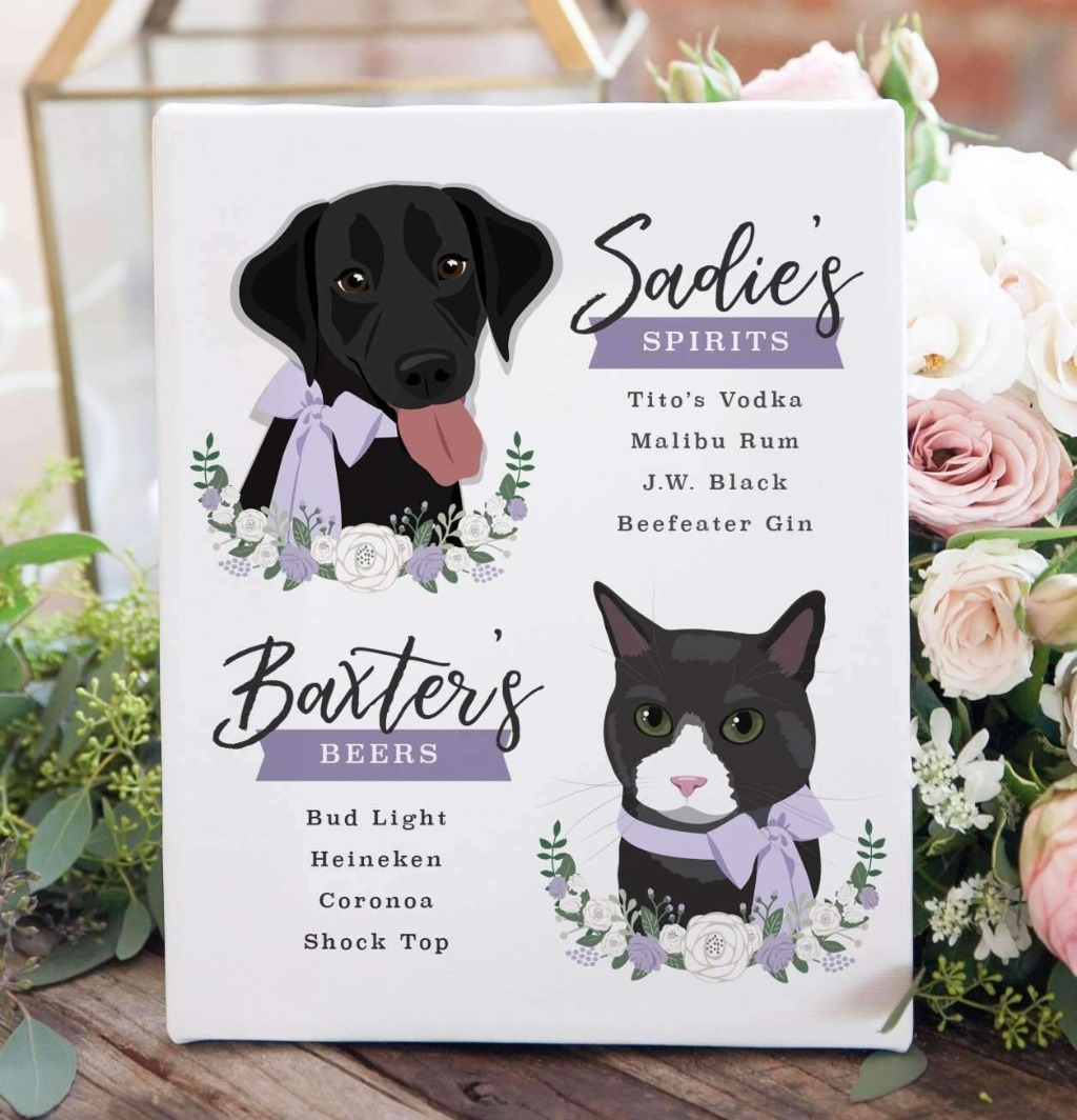 If you're in the market for a beautiful bar sign featuring pets, Miss Design Berry is the place for you! This Wedding Bar Menu Sign