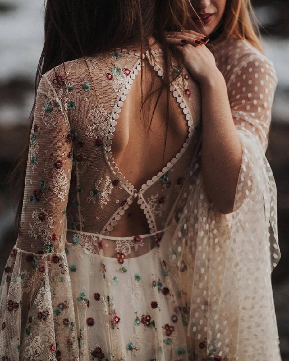 Floral embroidery and polka dot embroidery on wedding gowns