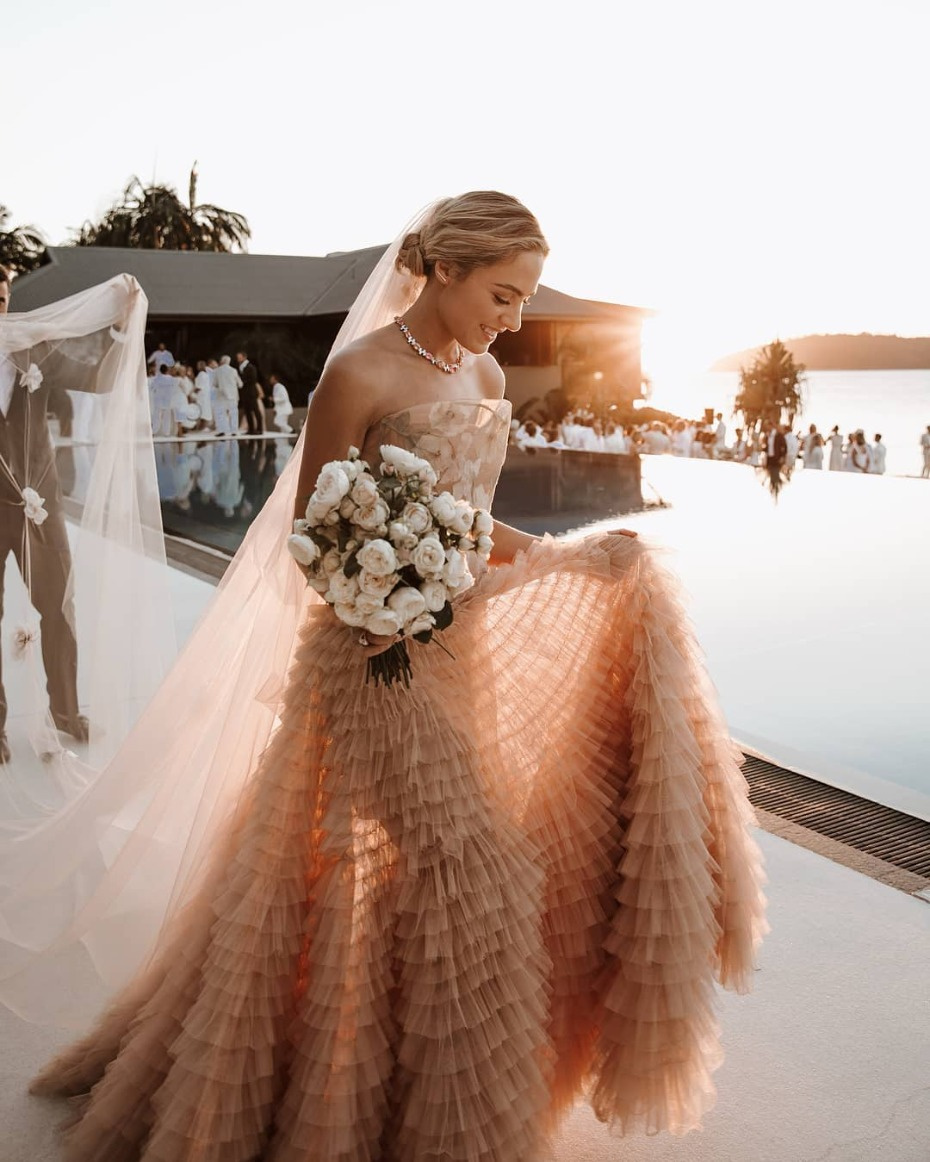 Blush Dior Gown with Ruffles and Floral Print