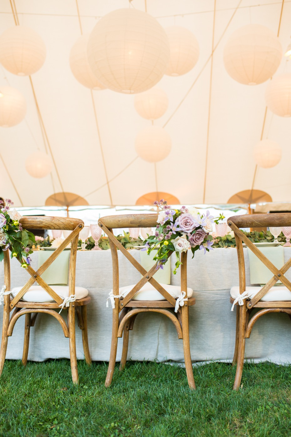 Tented Wedding with Hanging Lanterns on Sperry Tent
