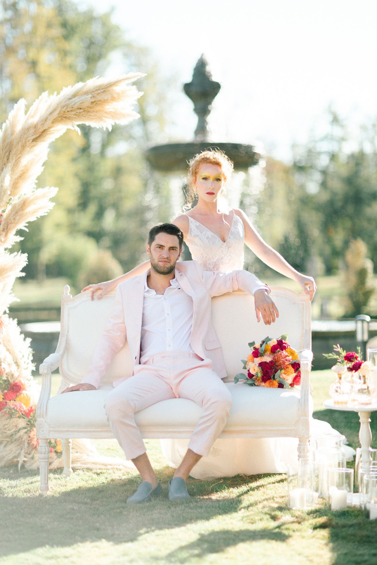 blush pink wedding couple
