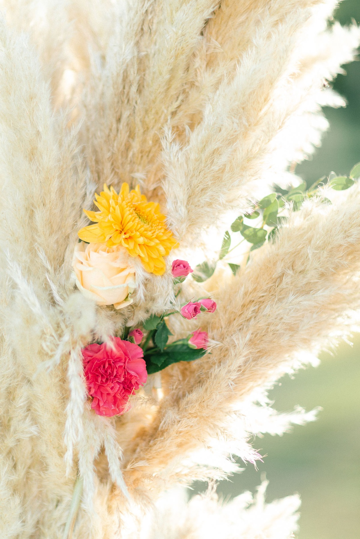 pampas grass and floral decor