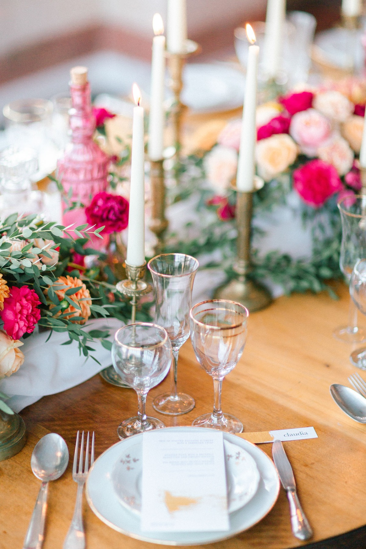 romantic pink and gold wedding table place setting