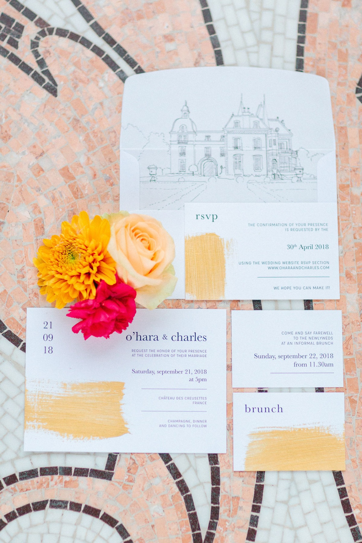 gold brush wedding invitation suite