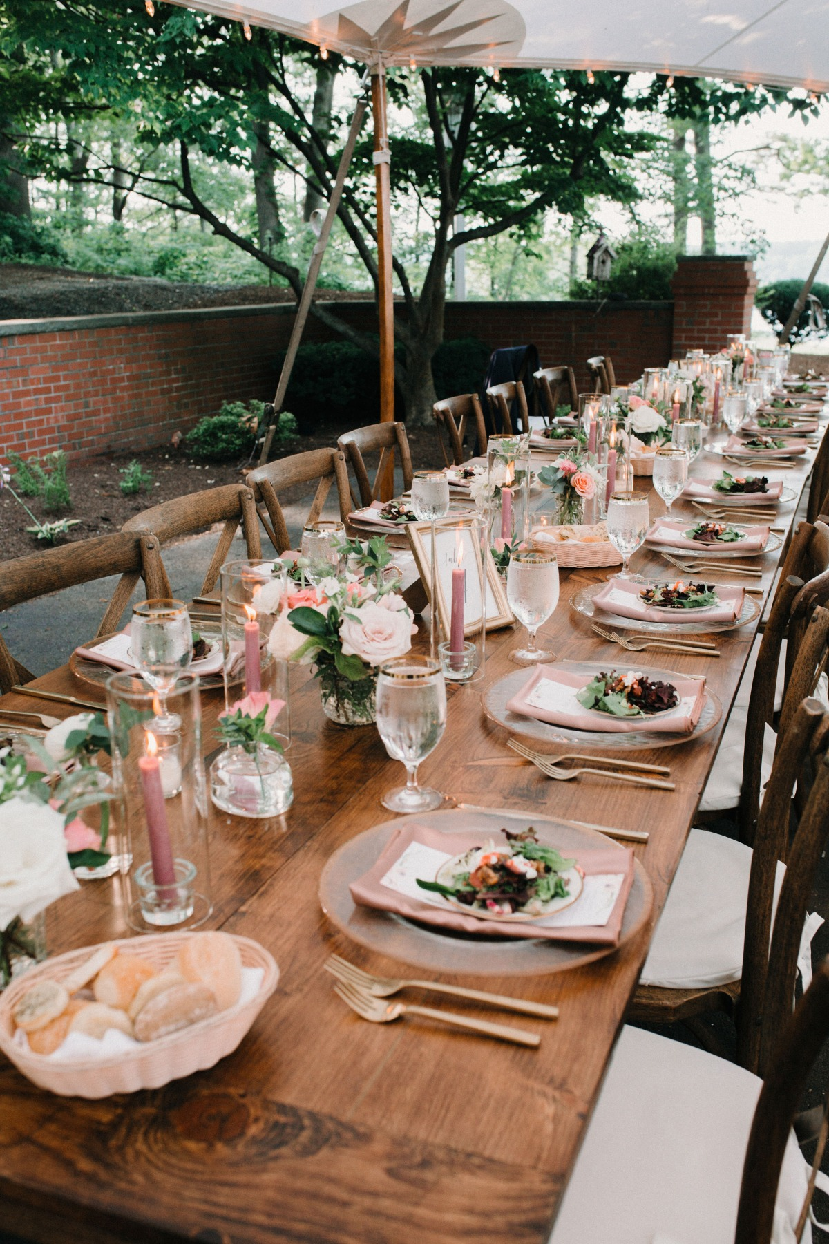 Blush reception table with gold