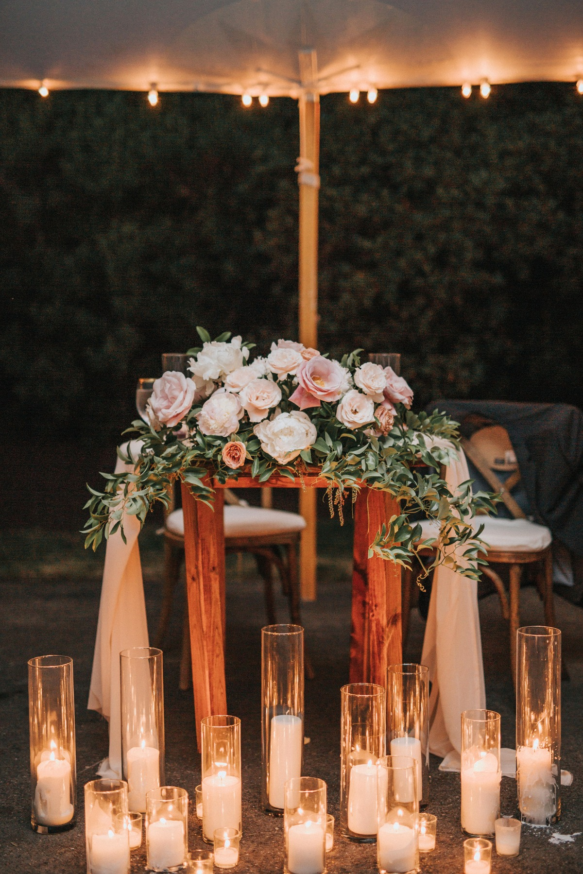 Sweetheart table and candles