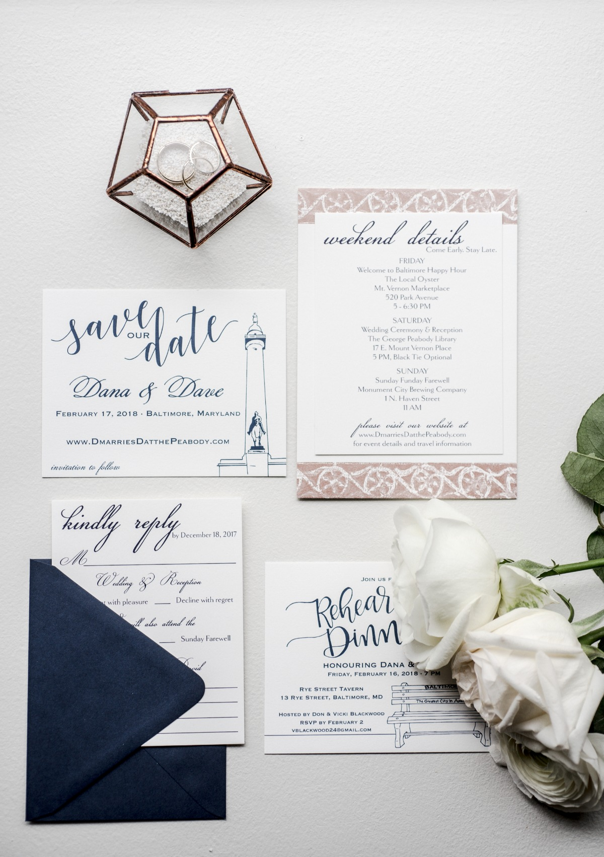 navy blue calligraphy wedding inviation suite