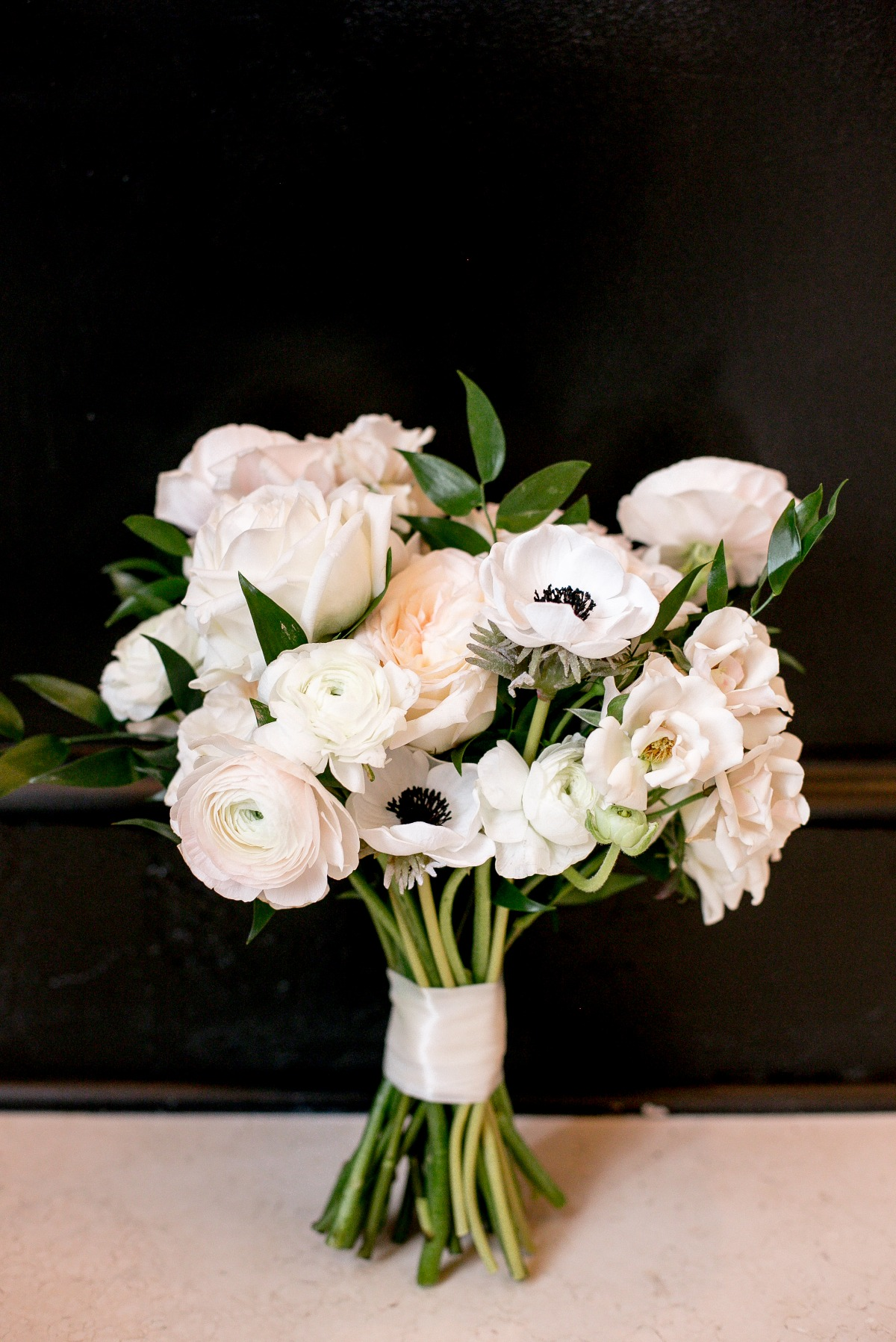 all white modern wedding bouquet