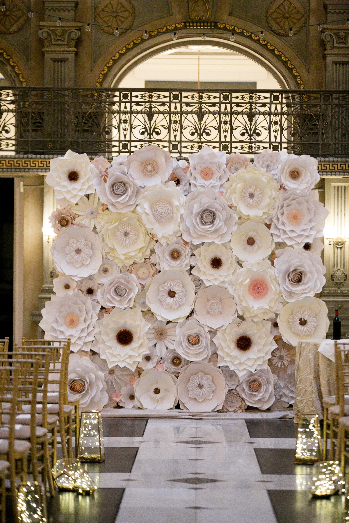 giant white paper flower wedding backdrop