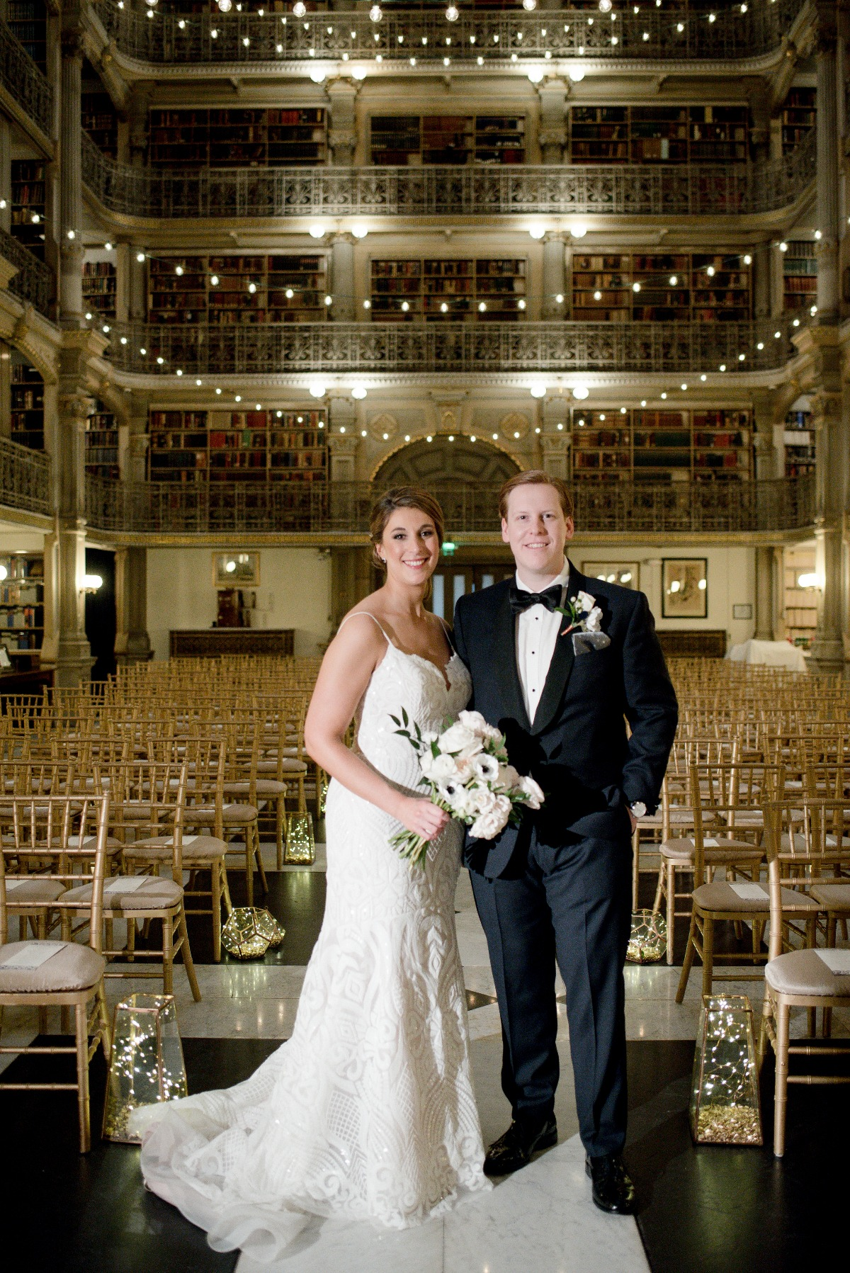 wedding ceremony at the Peabody Library