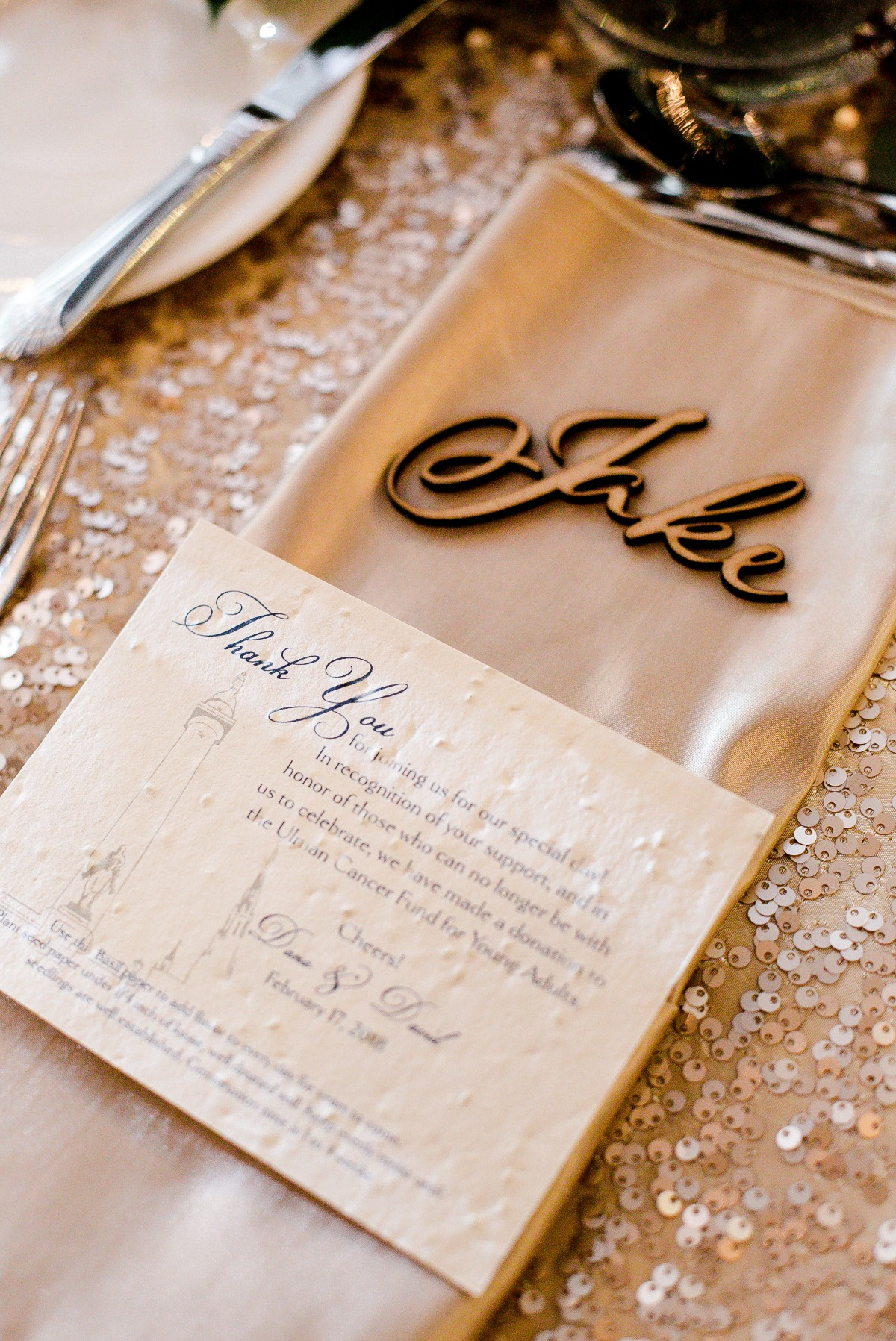 thank you notes and sequin table linens