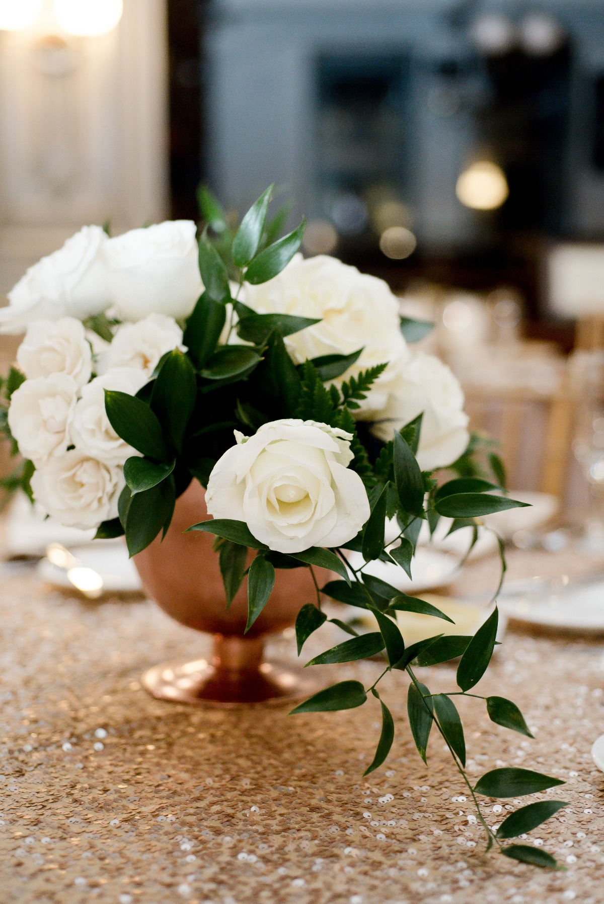 all white modern centerpiece