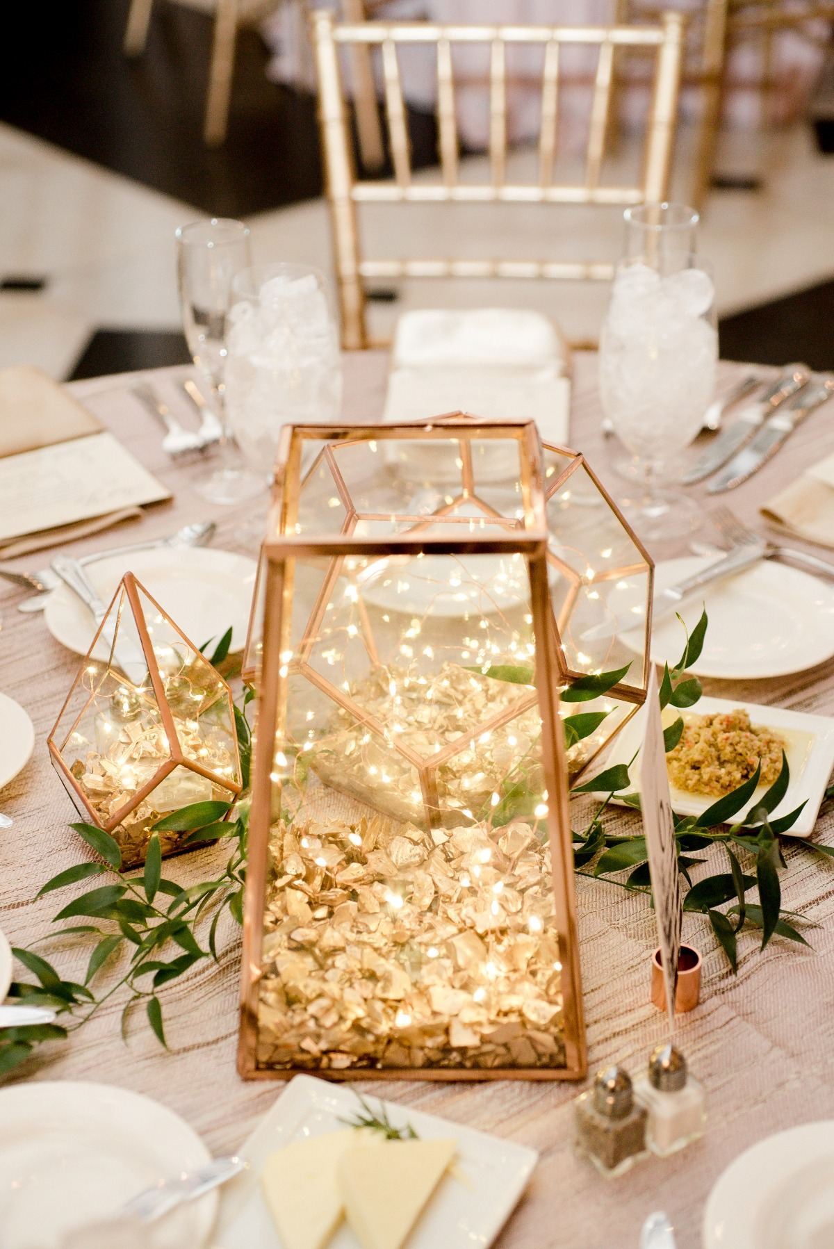 fairy light wedding lantern centerpiece