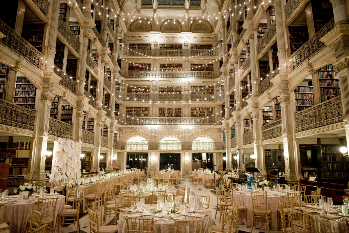 formal dinner reception at Peabody Library