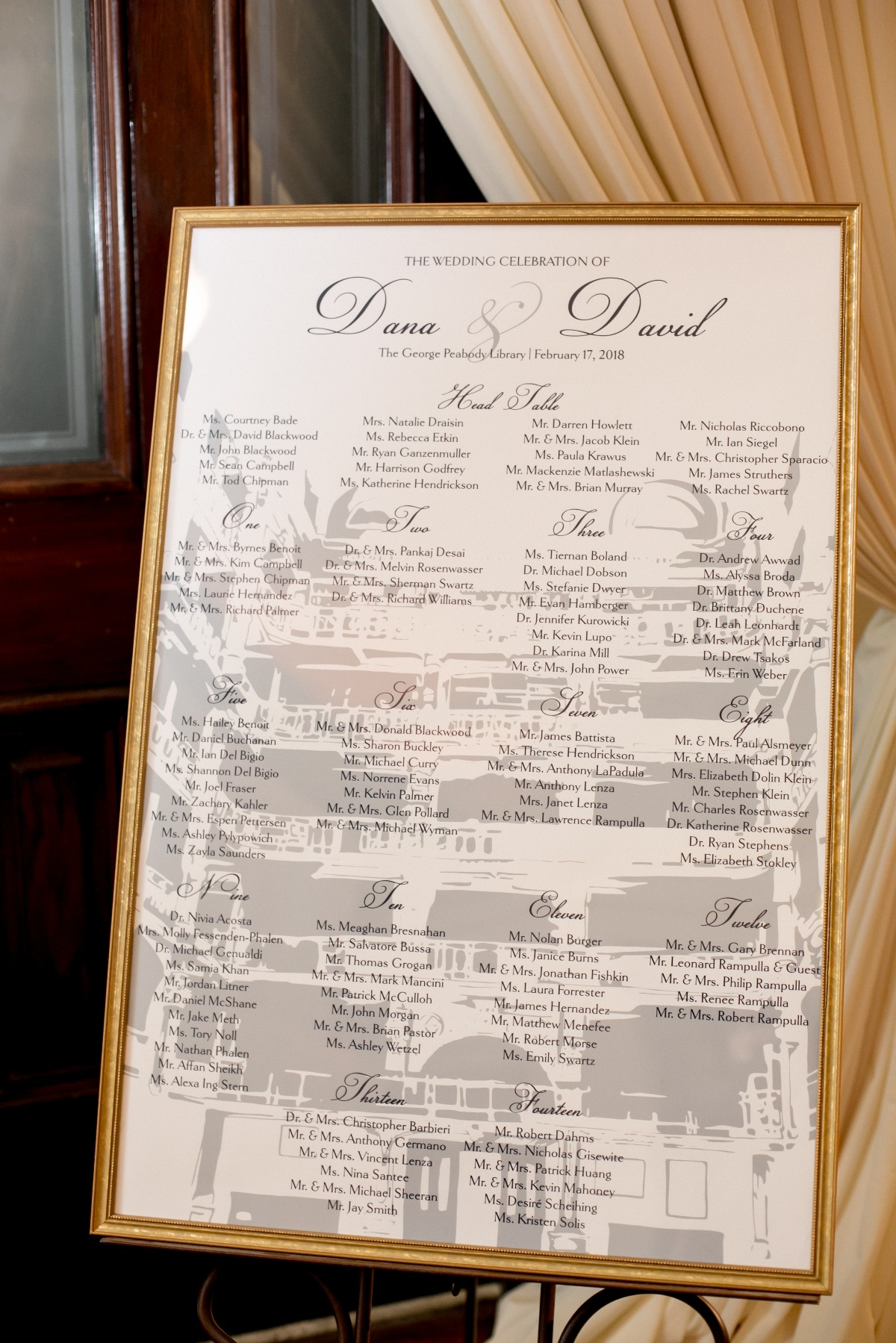 modern wedding seating assignment board