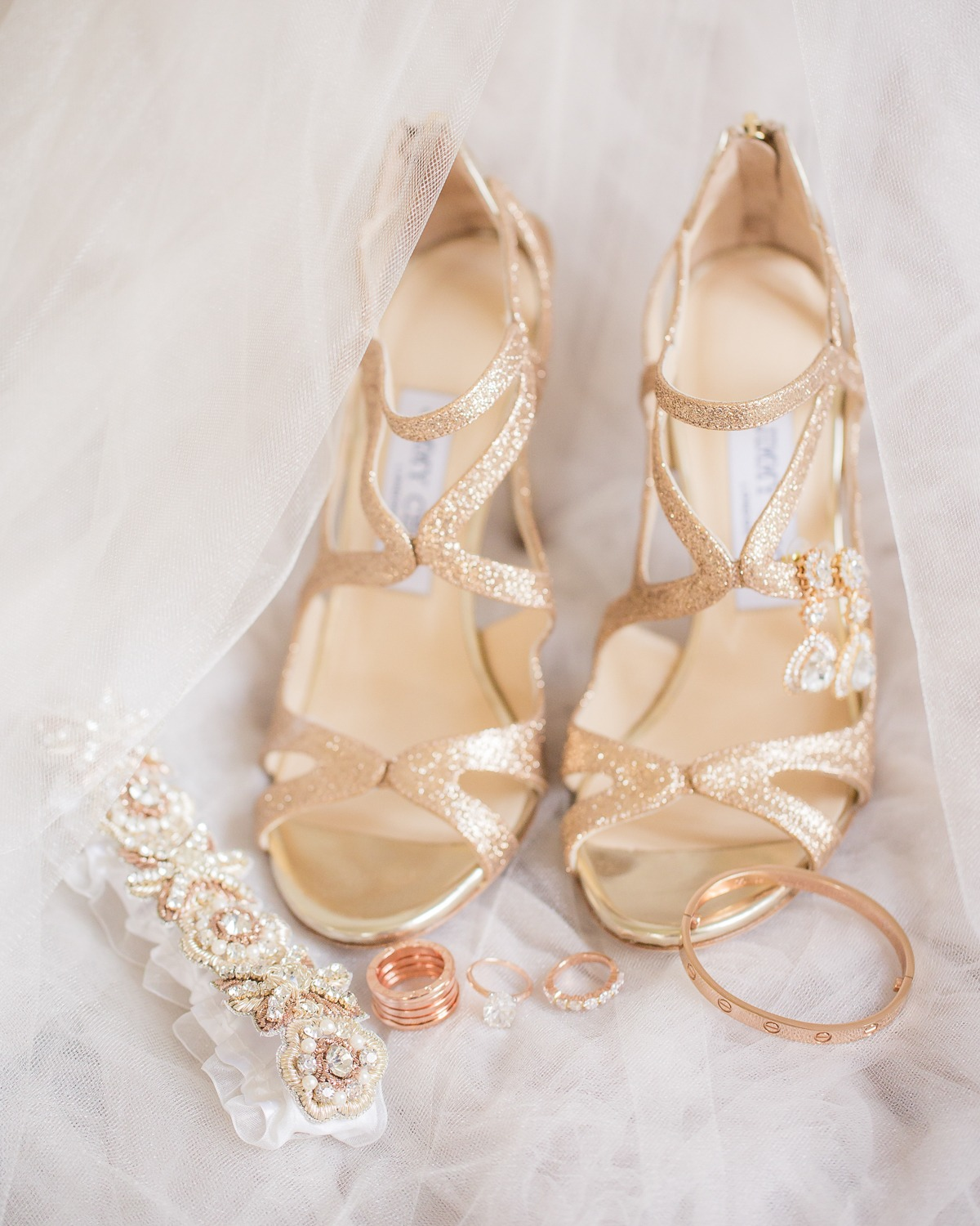 Gold Jimmy Choo wedding heels