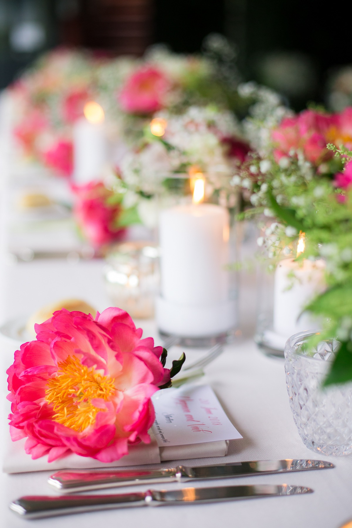 Pink floral reception design