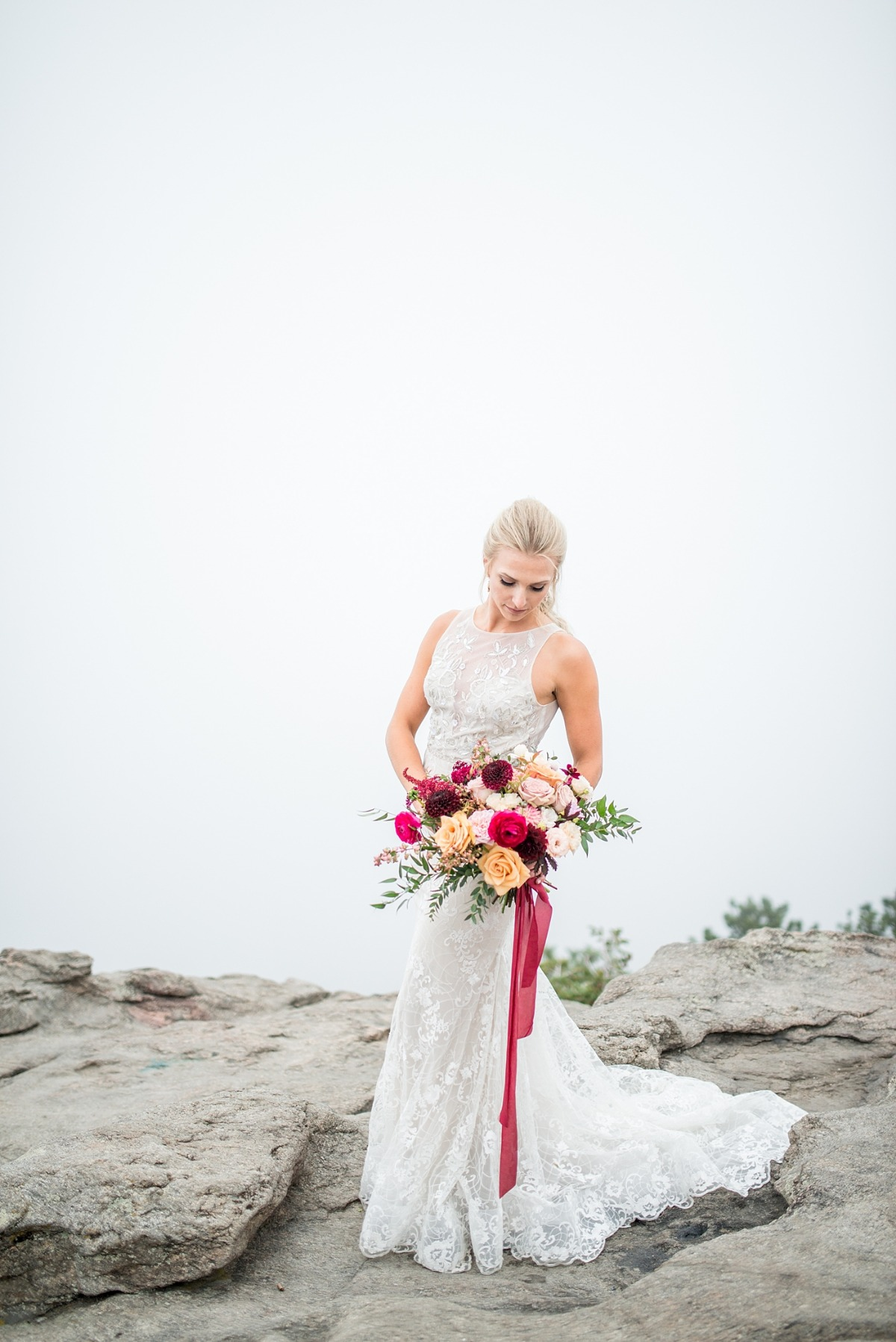 Stylish bride in the mountains