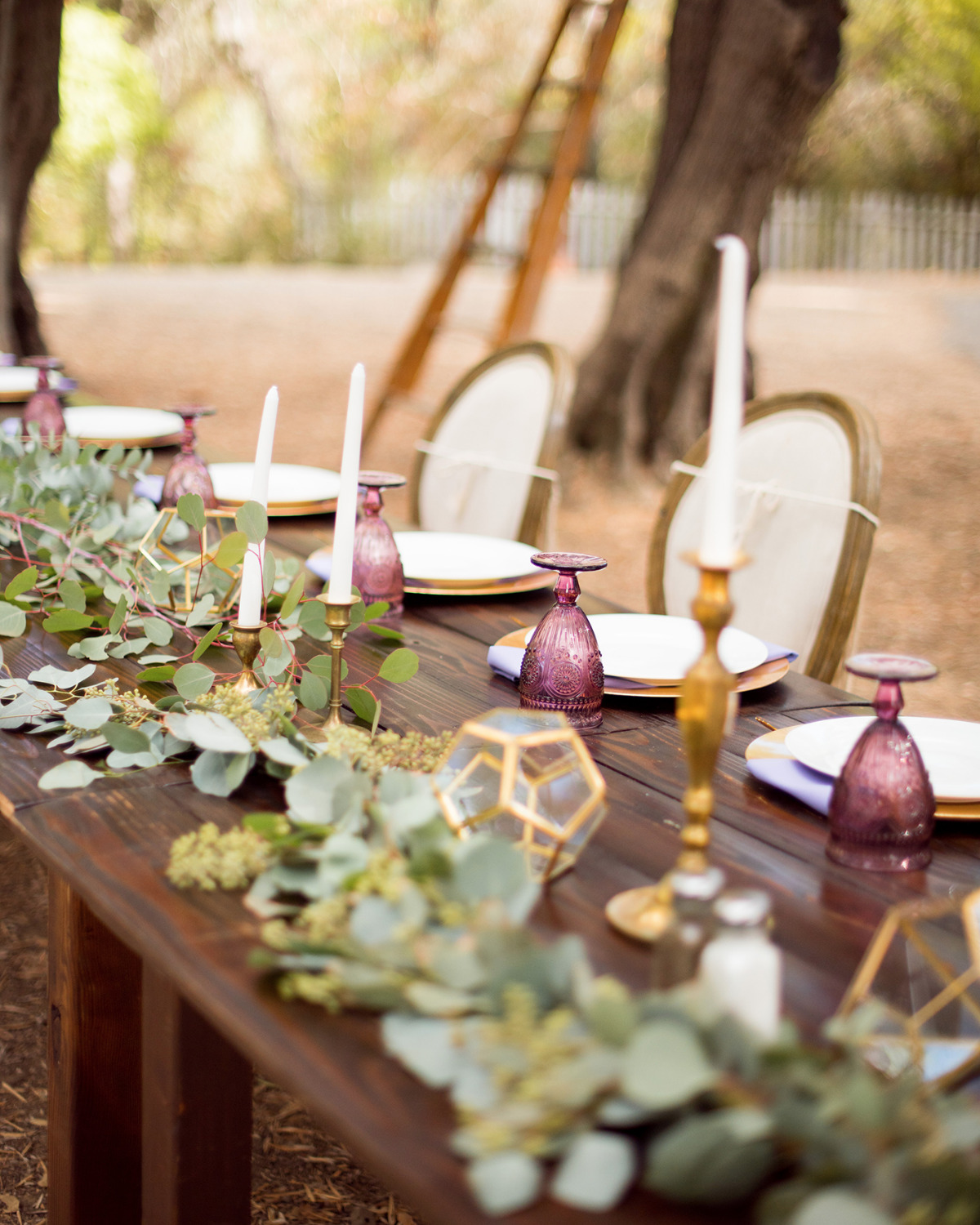 gold and purple wedding wedding table decor