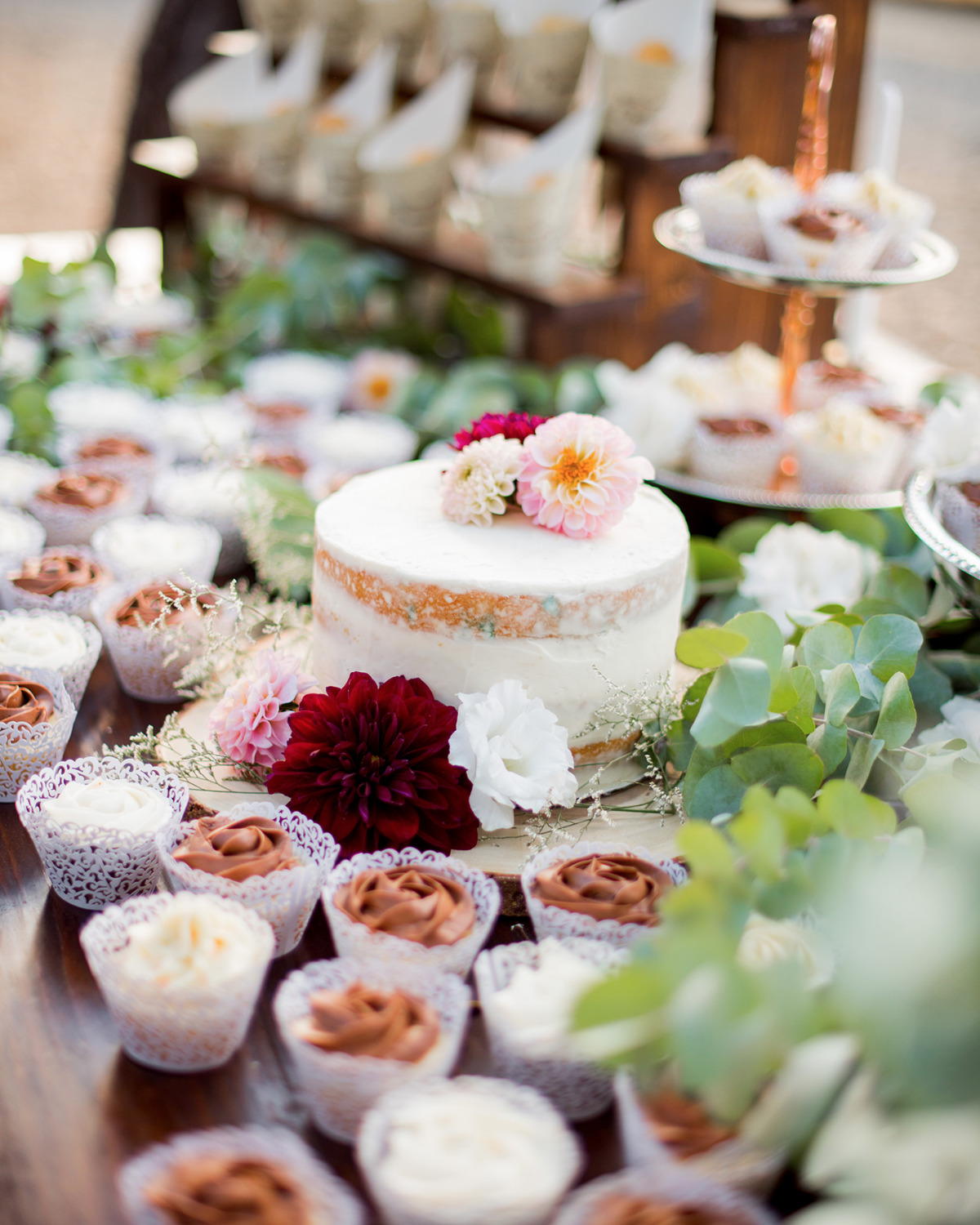 cupcakes and small wedding cake