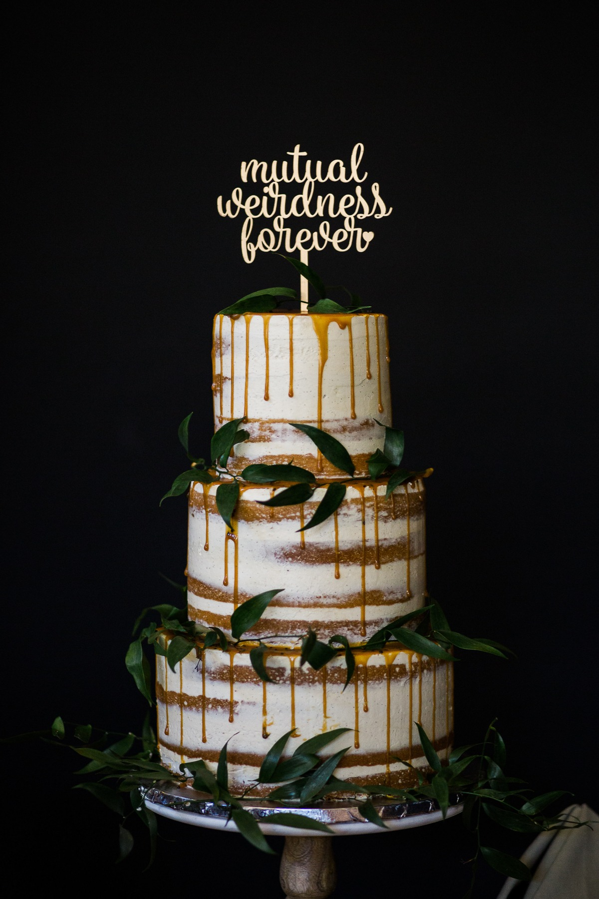 Caramel drizzle wedding cake