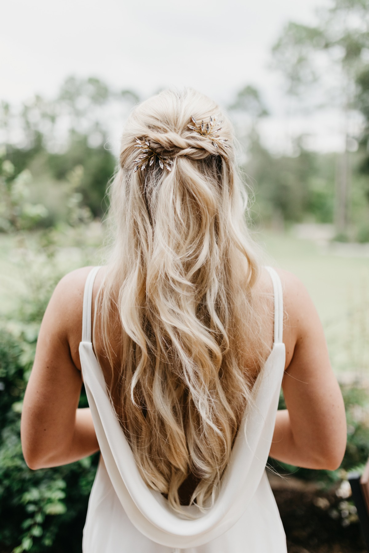 half up beach wave wedding hair