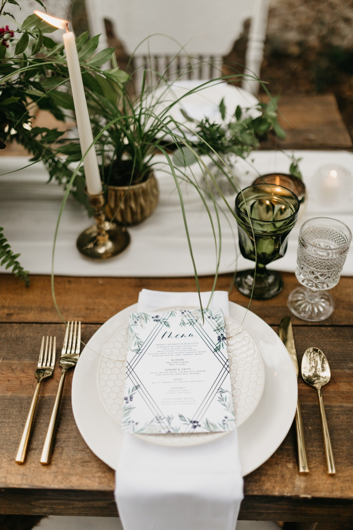 neutral and natural themed wedding place setting