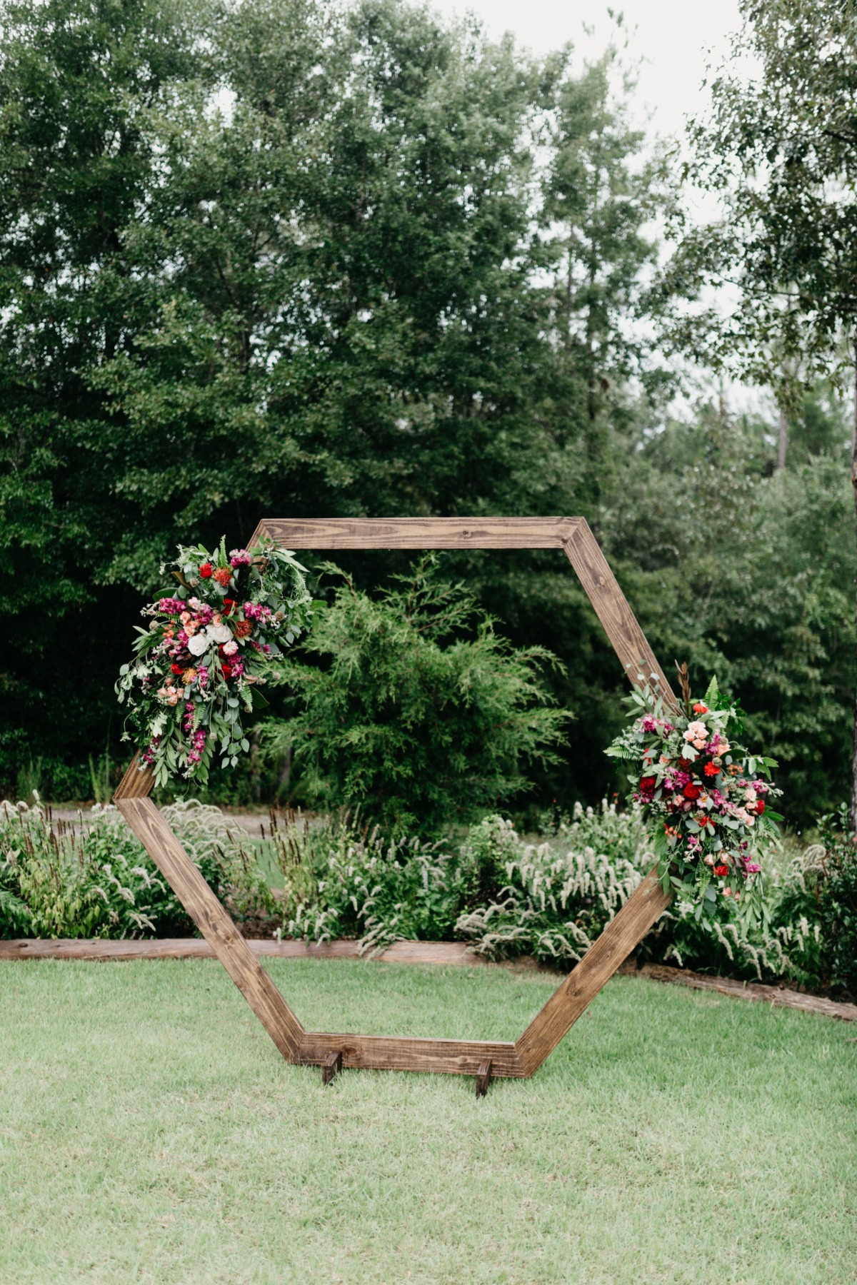 hexagon wedding backdrop idea