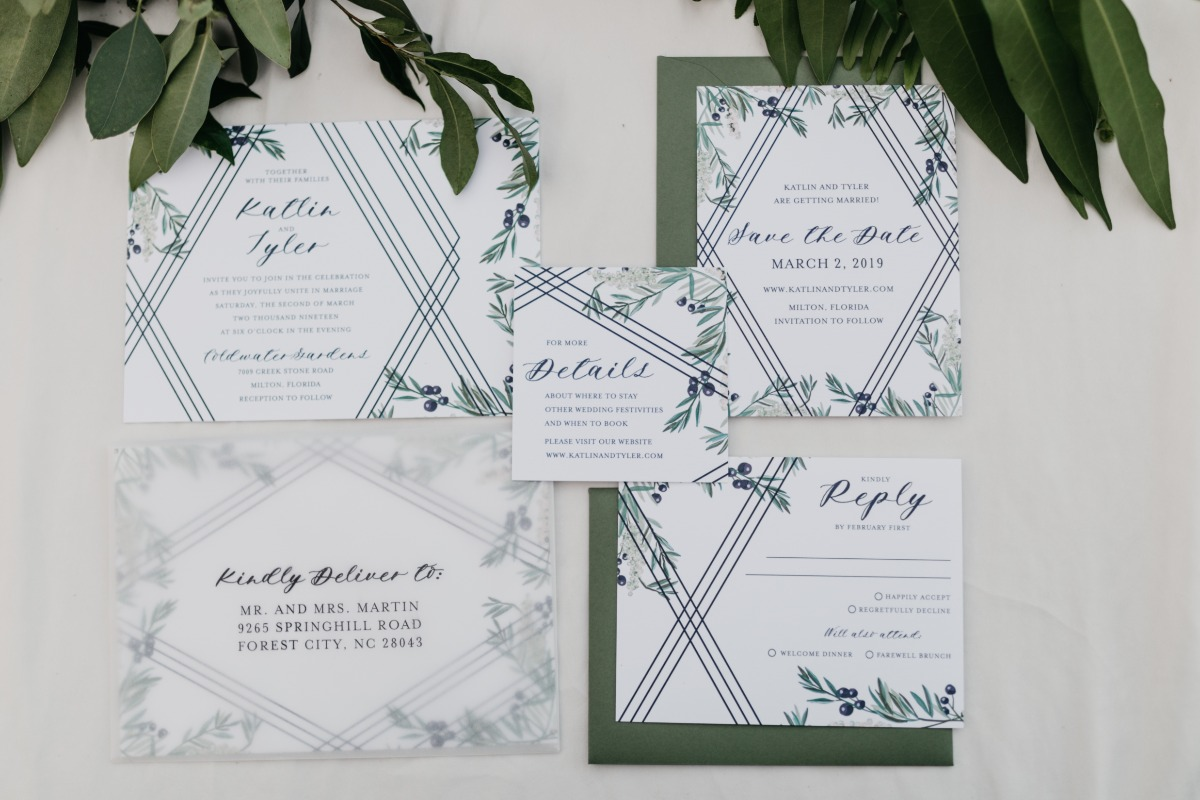 modern blue and green wedding invitation suite