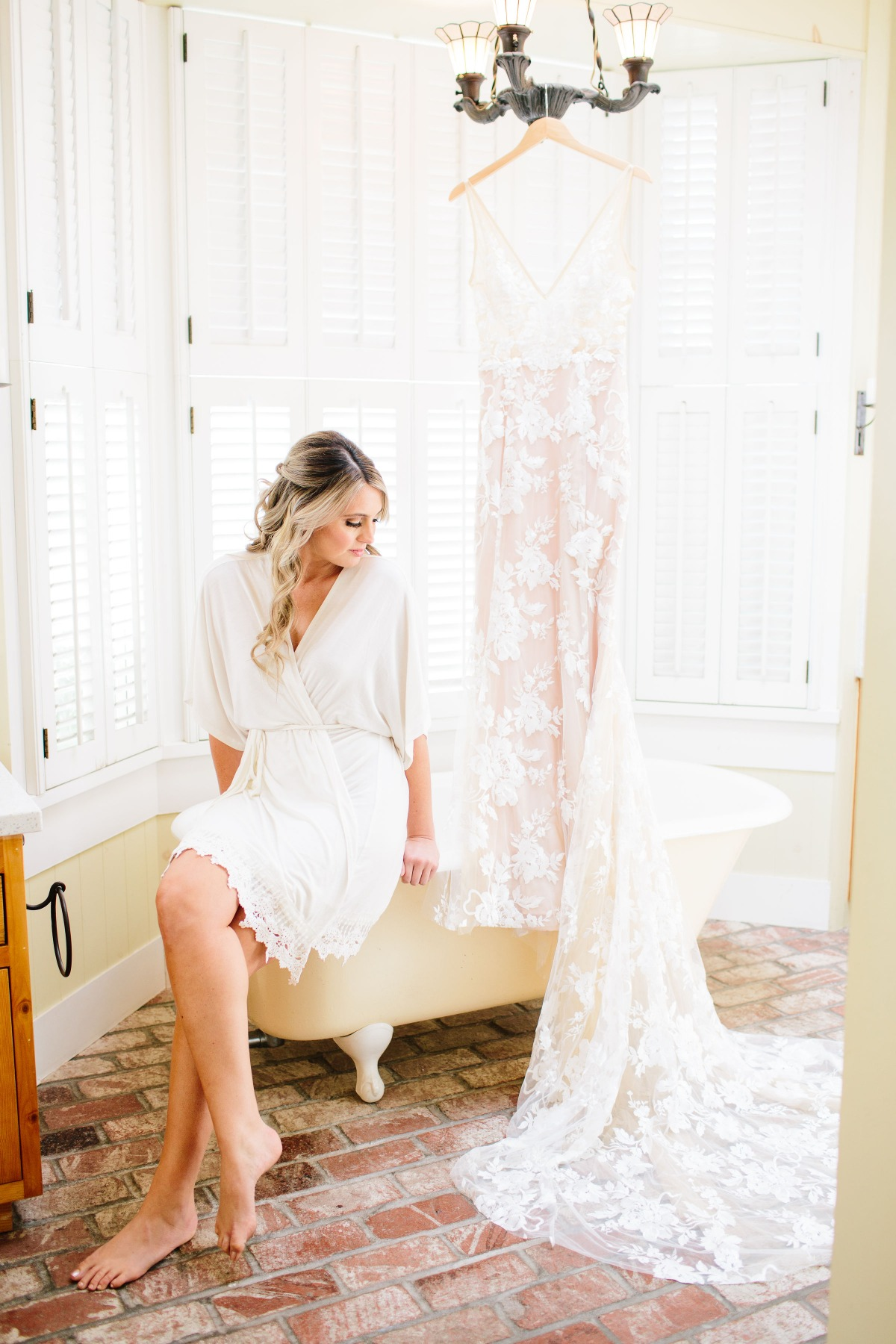 Blush lined lace wedding dress