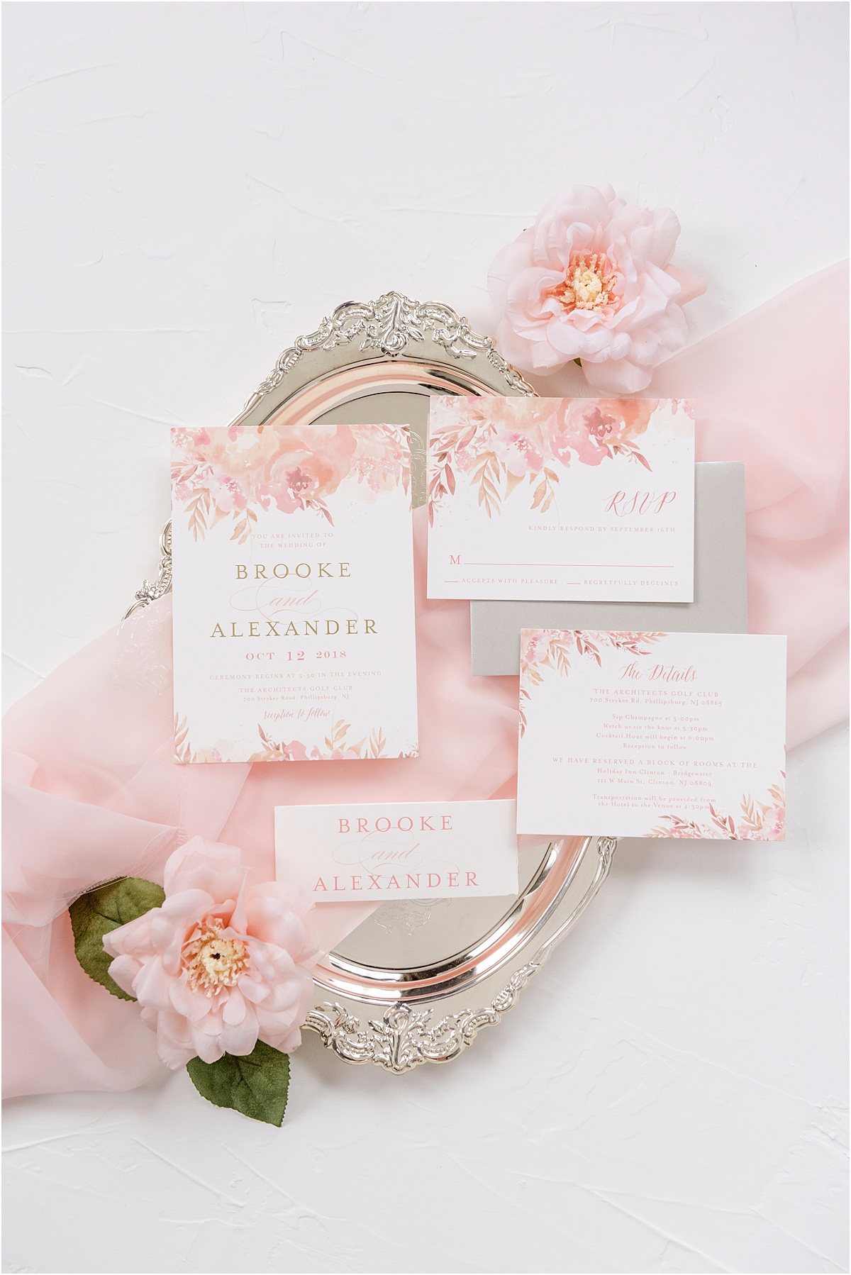 pink floral wedding invitation suite
