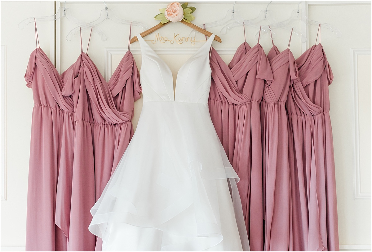 wedding dress and pink bridesmaid dresses