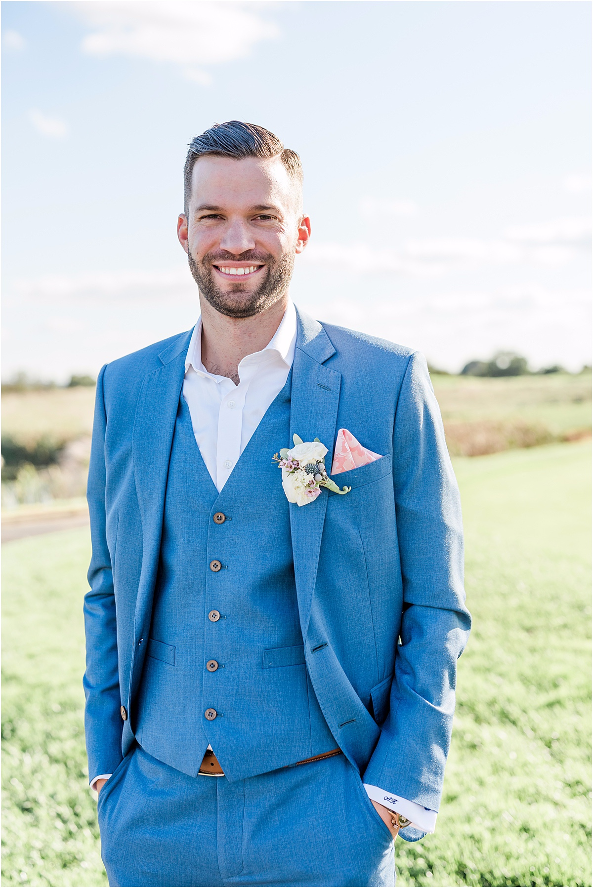 groom in royal blue suit