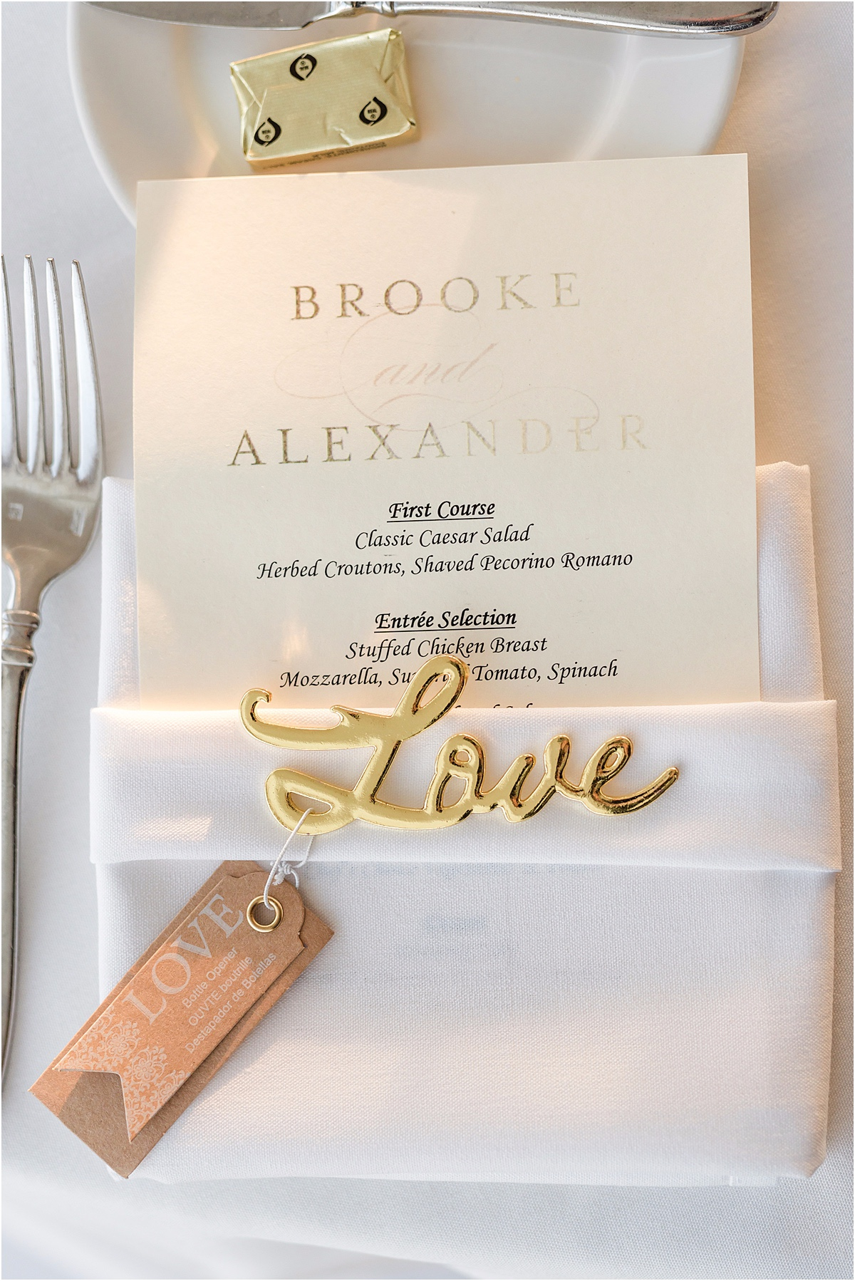 sweet wedding menu and gold love favor