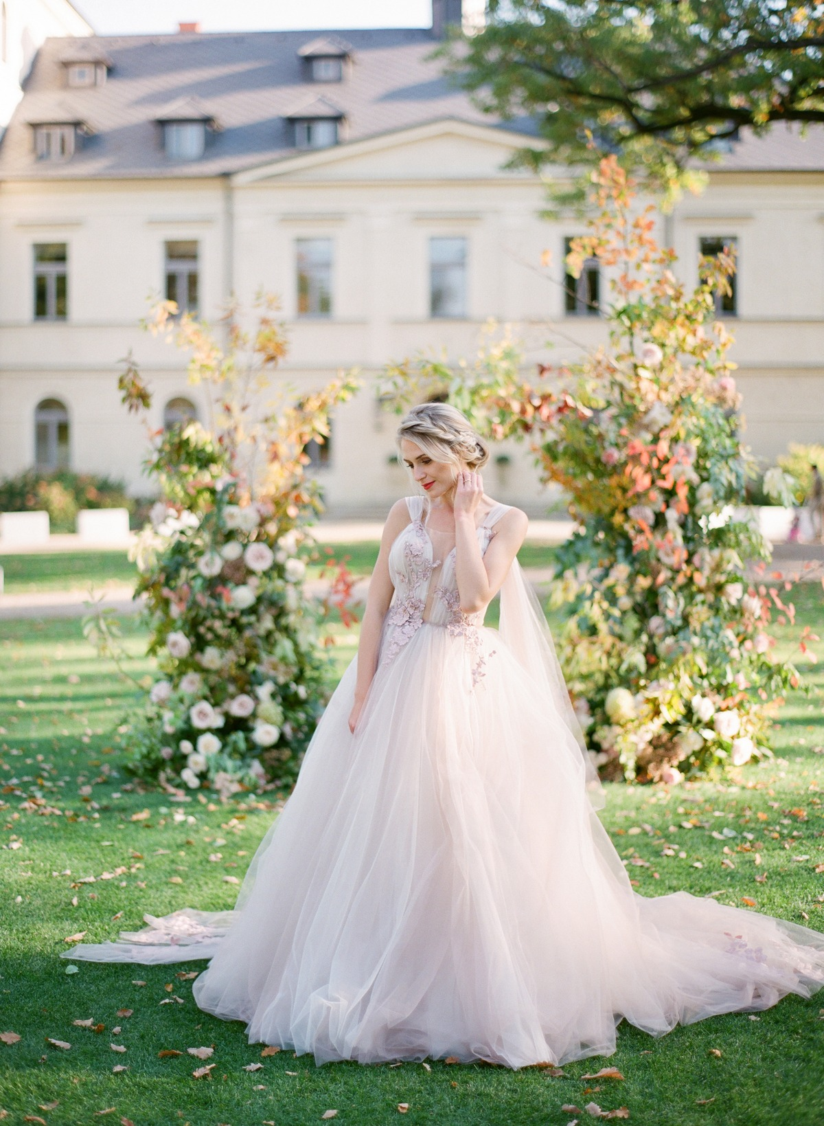 Blush tulle wedding dress by White Day