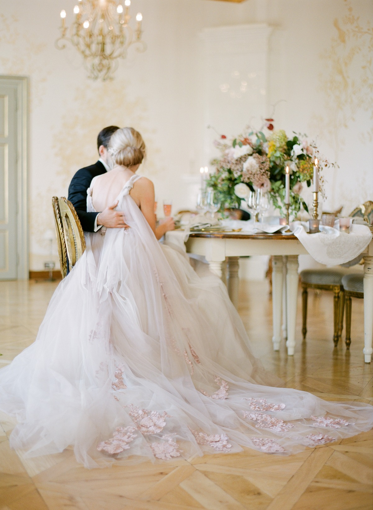 Gorgeous blush wedding dress