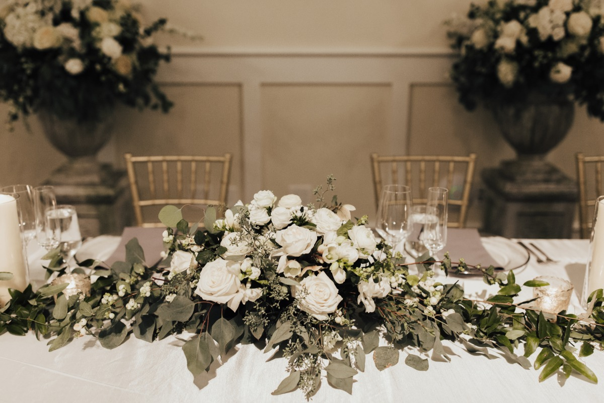 all white floral garland table decor