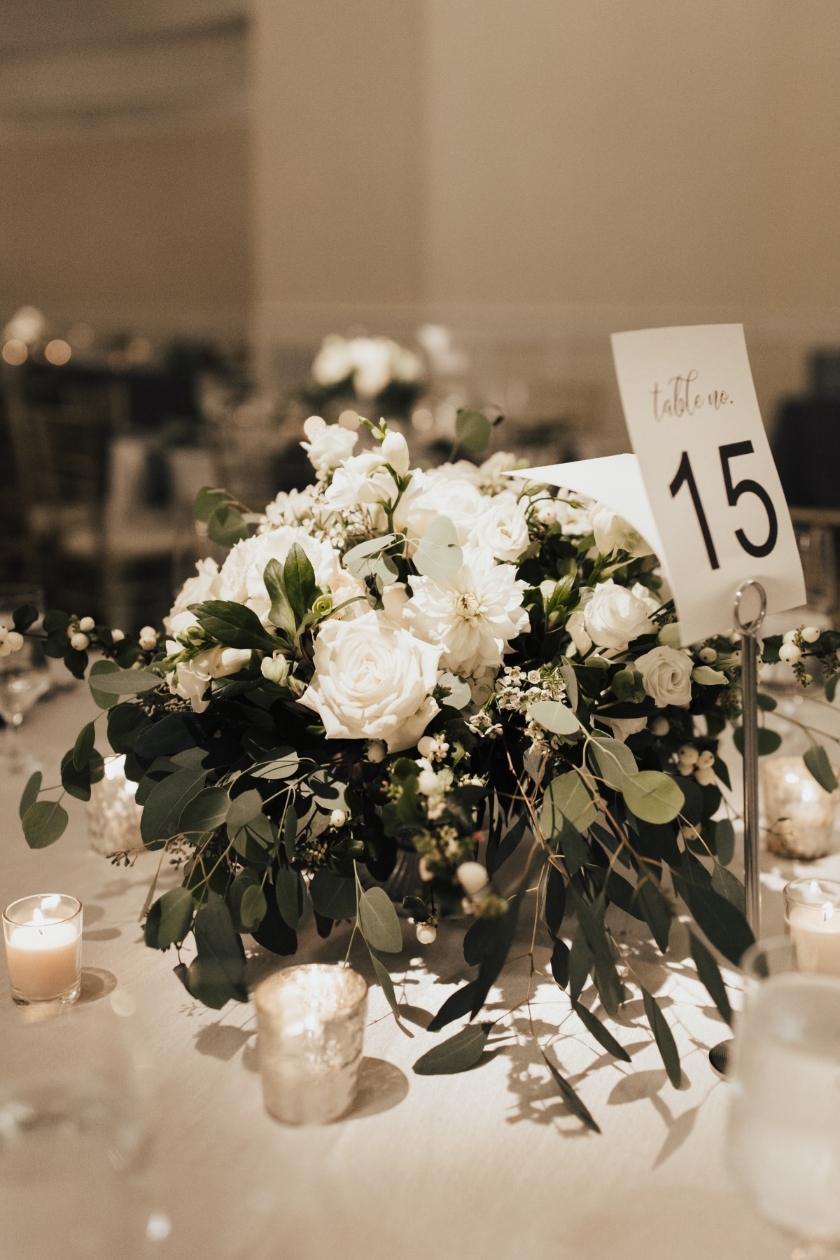 all white wedding table centerpiece