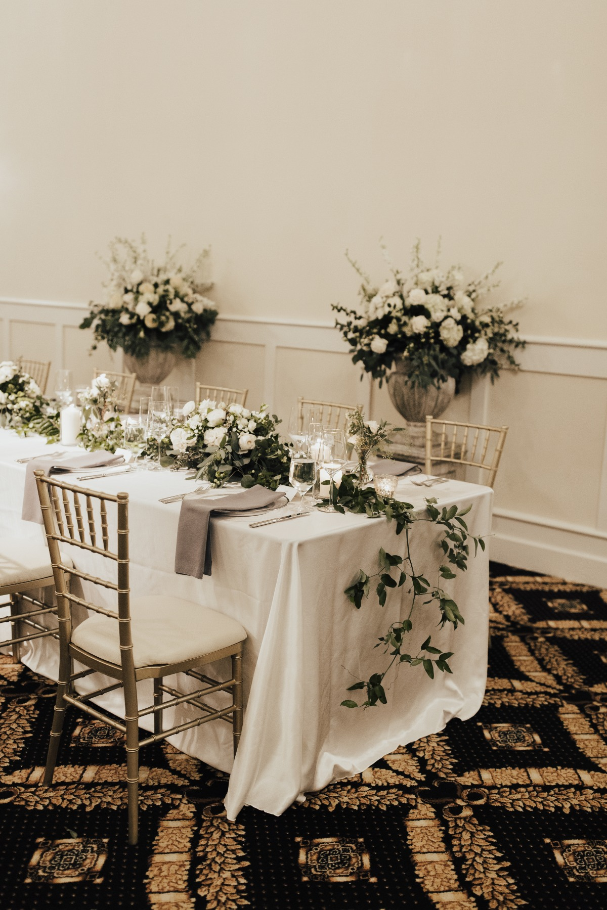 romantic white and grey wedding table decor