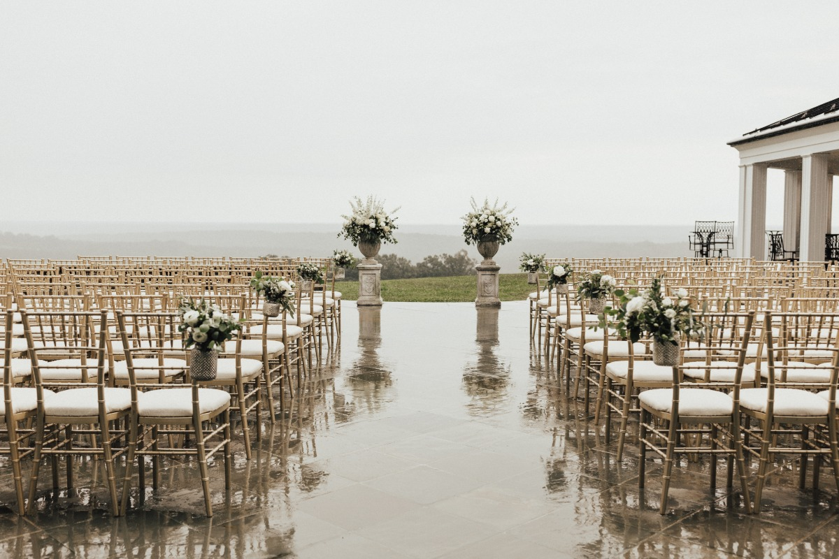 rain soaked wedding ceremony