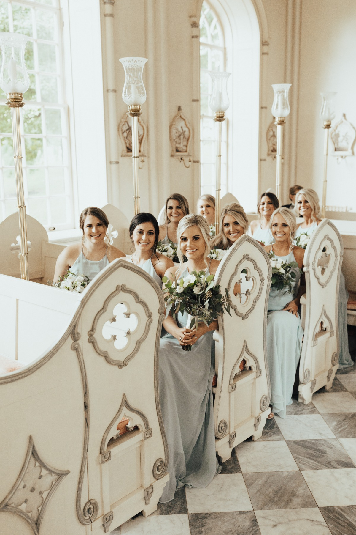 bridesmaids in a cute little chapel