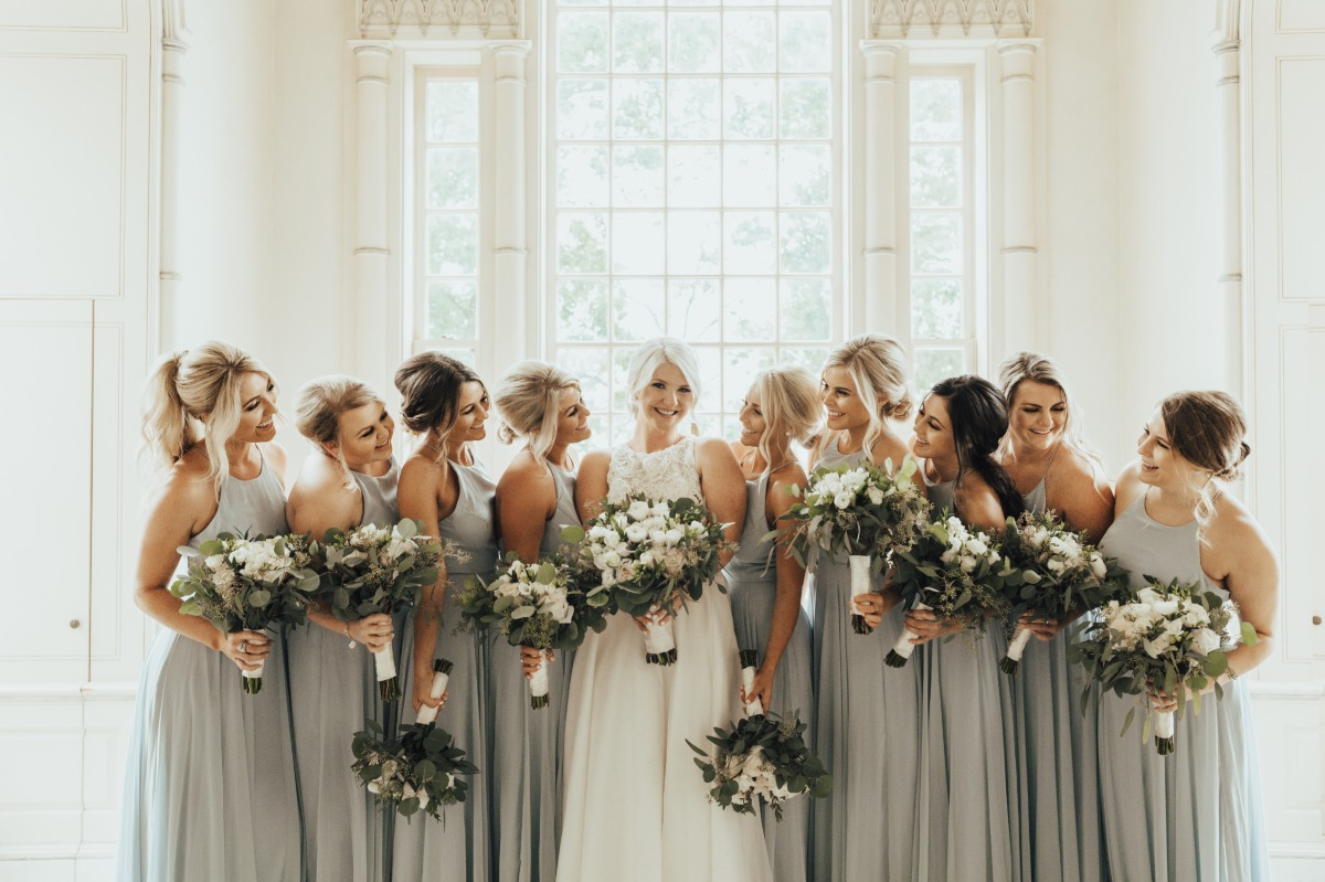 bridal party in soft grey