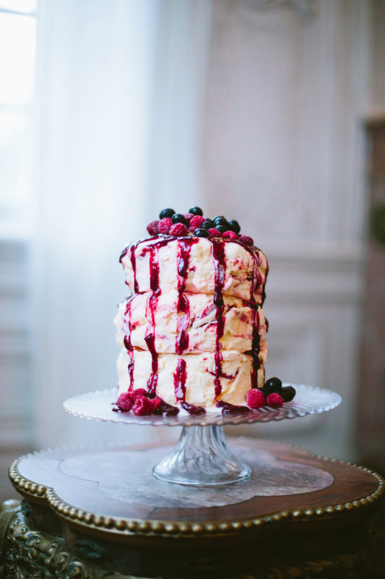 Radiant Orchid Ice Cream Wedding Cake with Berries