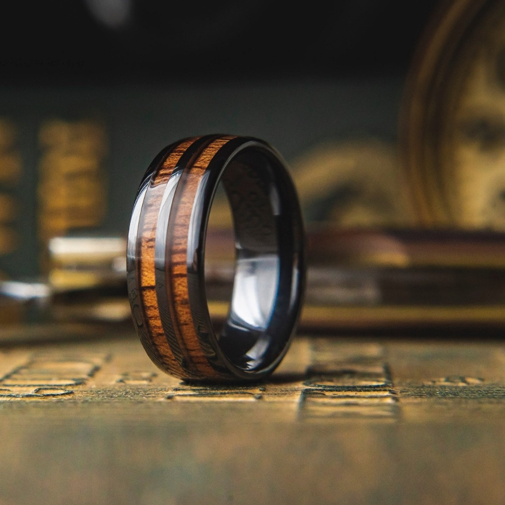Mens Vintage Wood Wine Barrel Ring- This unique men's wedding ring is crafted out of black ceramic and inlaid with natural koa wood