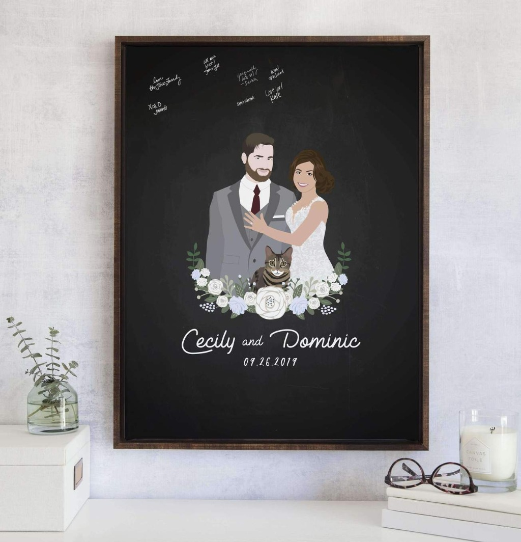 Rustic weddings are absolutely beautiful, and this Wedding Guest Book Alternative with Chalkboard Portrait from Miss Design Berry would