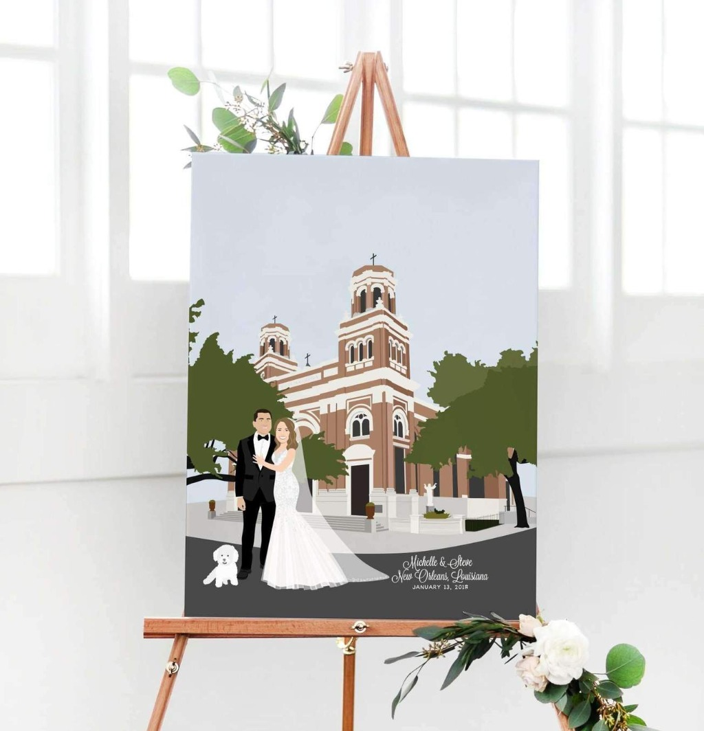 If your venue is especially wonderful, consider adding it on to your guest book alternative! This Wedding Guest Book Alternative with