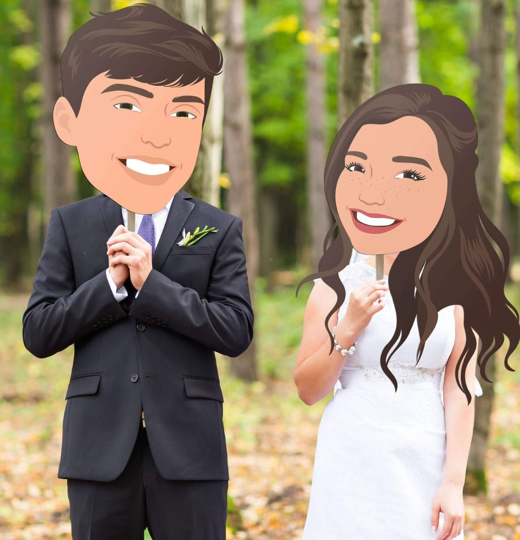 These Big Head Portrait Photo Props aren't only for your pets; we have Illustrated Cut Out Faces of YOUR faces too!! Make your wedding