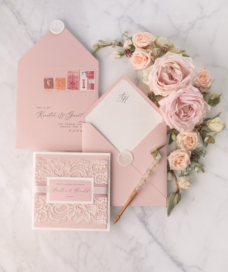 wedding invitations with real lace