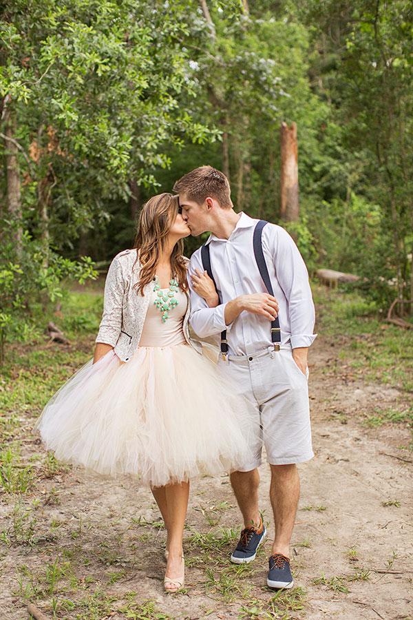 Such a cute idea for an engagement shoot! This shoot was featured on Wedding Chicks. This bridal skirt was a custom order and I thought