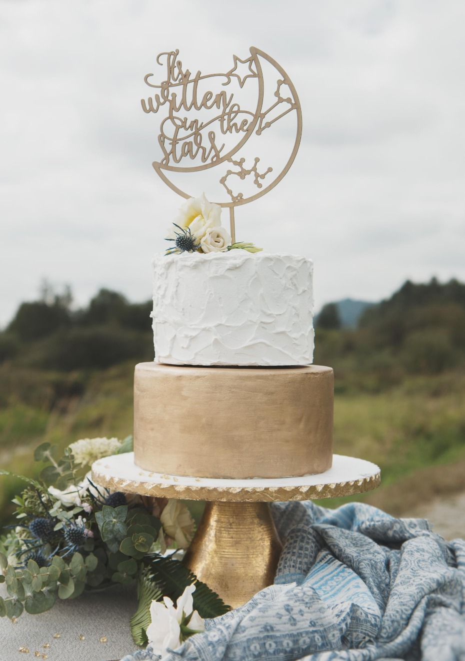 Thistle and Lace Custom It's Written in the Stars Cake Topper